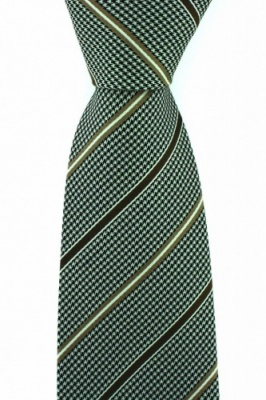 Luxury Brown Dogtooth Silk Tie with Stone Stripes by Soprano